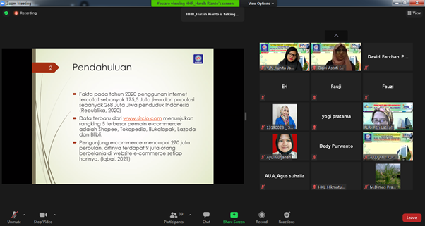 Pelatihan Pengenalan Marketplace E-Commerce ( Bisnis Digital) Untuk Meningkatkan Jiwa Kewirausaha Karang Taruna Sawah Indah 05 Marga Mulya-Bekasi Utara